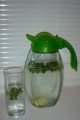 My daily drink: tap water, limes, ginger & fresh mint